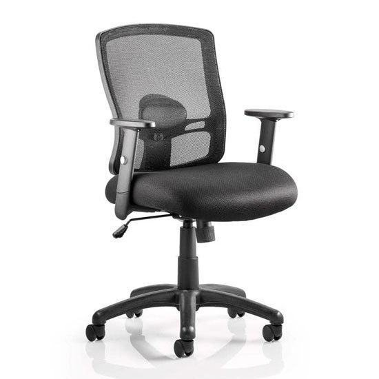 Portland Task Black Back Office Chair With Black Seat