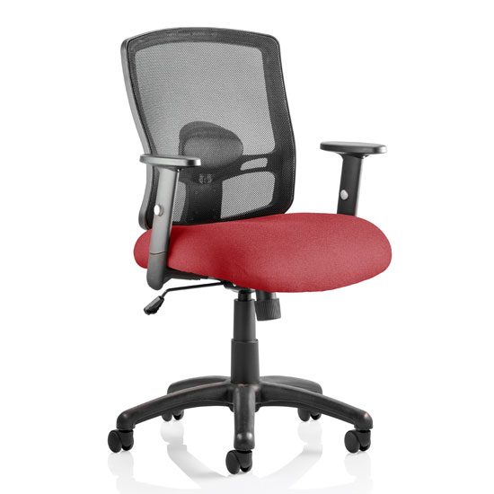 Portland Task Black Back Office Chair With Ginseng Chilli Seat