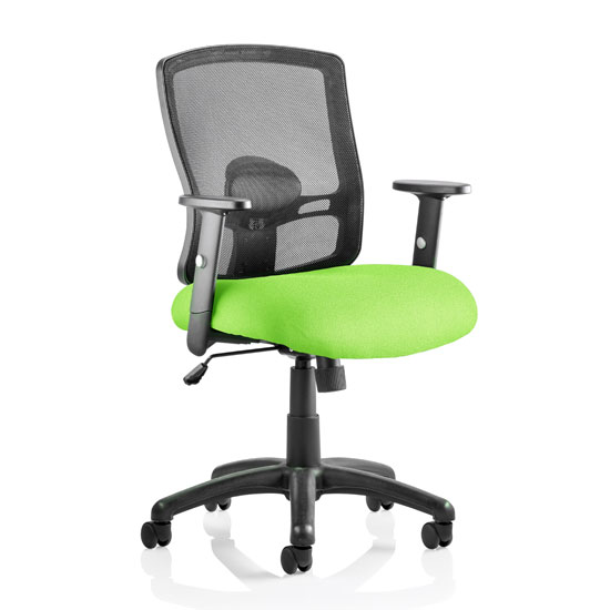 Portland Task Black Back Office Chair With Myrrh Green Seat