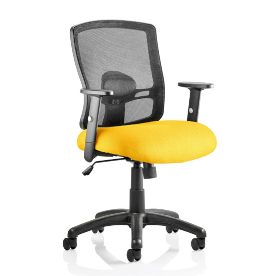Product photograph showing Portland Task Black Back Office Chair With Senna Yellow Seat