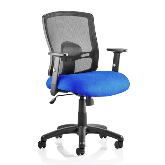 Portland Task Black Back Office Chair With Stevia Blue Seat