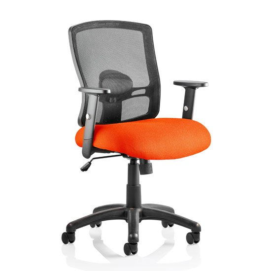 Portland Task Black Back Office Chair With Tabasco Red Seat