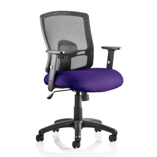 Portland Task Black Back Office Chair With Tansy Purple Seat
