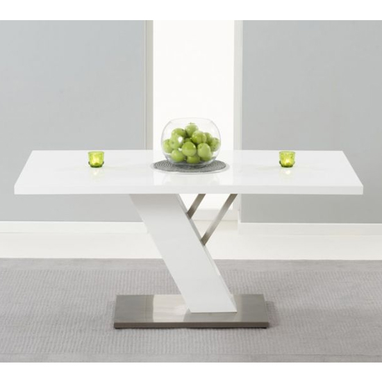 Portland Wooden Dining Table In White High Gloss