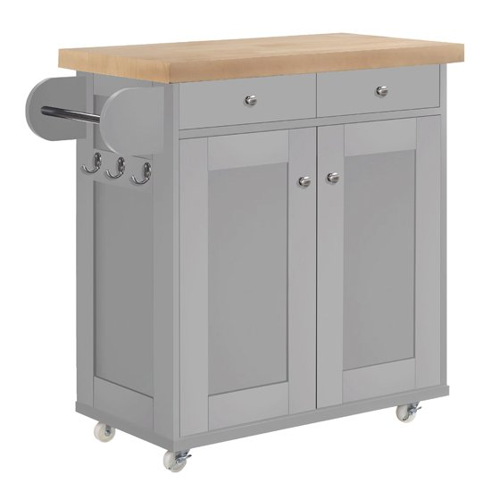 Portland Wooden Kitchen Storage Cabinet In Grey