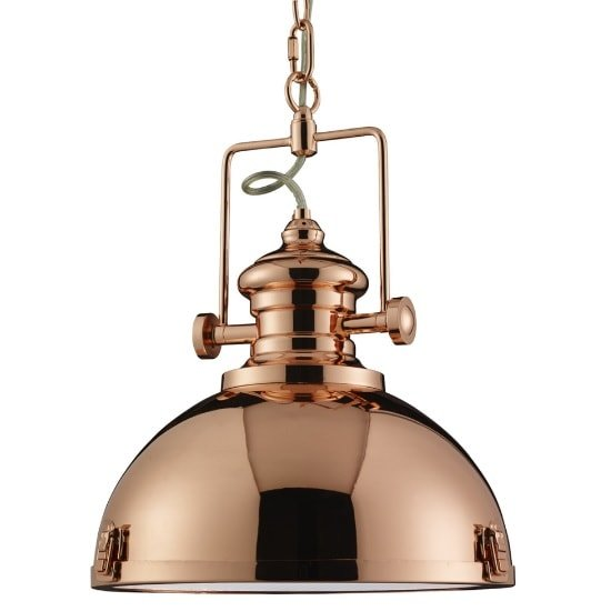 View Porto industrial pendant light in copper and frosted glass lens