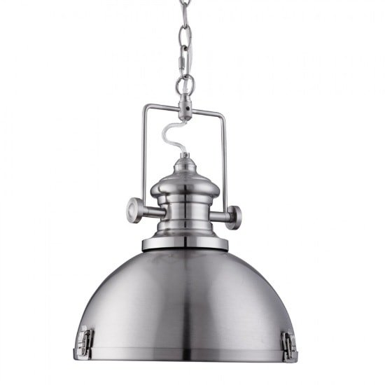 Porto Industrial Pendant Light In Satin Silver