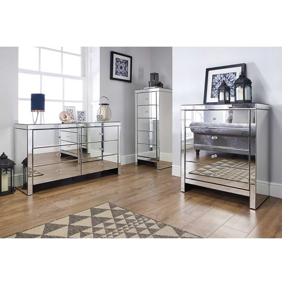 Portofino Mirrored Small Chest of Drawers With 3 Drawers_4