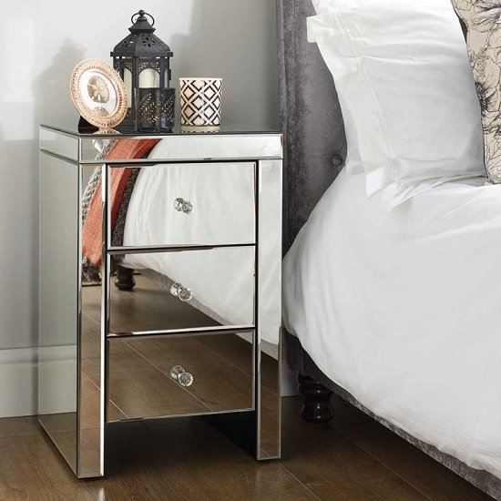 Portofino Mirrored Bedside Cabinet With 3 Drawers