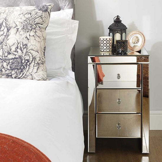 Portofino Mirrored Bedside Cabinet With 3 Drawers_2