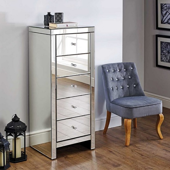 Portofino Mirrored Narrow Chest of Drawers With 5 Drawers