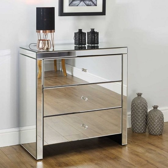 Portofino Mirrored Small Chest of Drawers With 3 Drawers_1