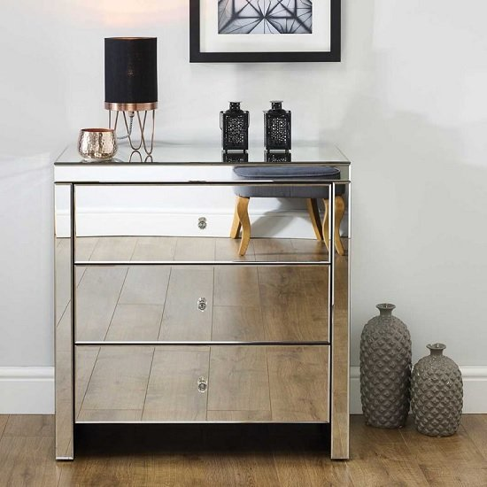Portofino Mirrored Small Chest of Drawers With 3 Drawers_2