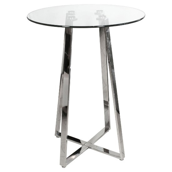 Poseur Glass Bar Table With 2 Black Leather Nigella Stools_2