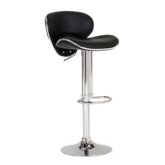 Poseur Glass Bar Table With 2 Black Leather Nigella Stools_3