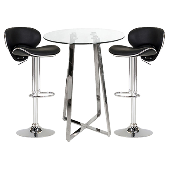 Poseur Glass Bar Table With 2 Black Leather Nigella Stools_1