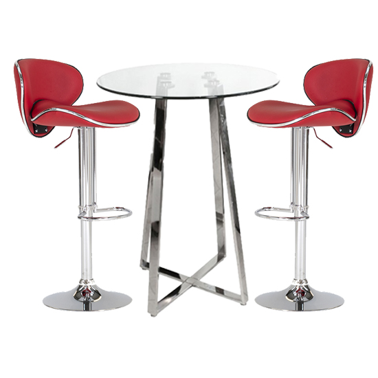 Poseur Glass Bar Table With 2 Red Leather Nigella Stools