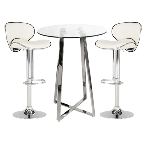 Poseur Glass Bar Table With 2 White Leather Nigella Stools