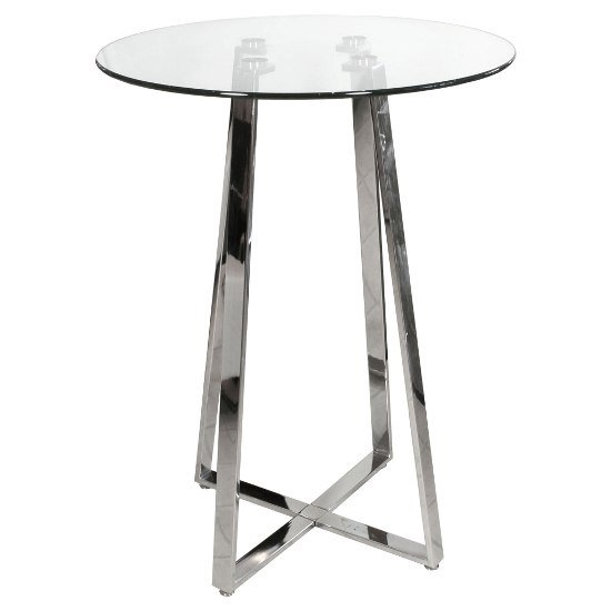 Poseur Glass Round Bar Table With 2 Giulia Ice Grey Bar Stools_2