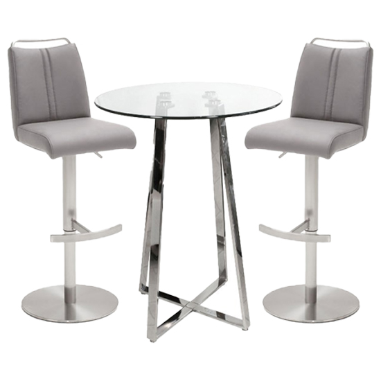 Poseur Glass Round Bar Table With 2 Giulia Ice Grey Bar Stools