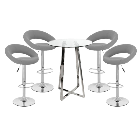 View Poseur glass top bar table with 4 leoni grey bar stools