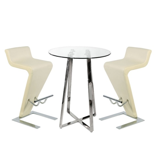 Poseur Bar Table In Clear Glass With 2 Farello Cream Bar Stools