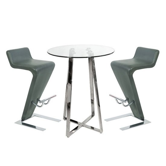 Glass Bar Stools: Poseur Bar Table In Clear Glass With 2 Farello Grey Bar