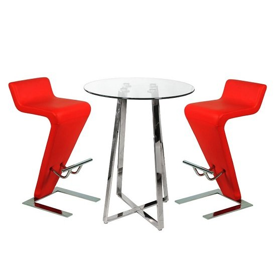 Poseur Bar Table In Clear Glass With 2 Farello Red Bar Stools