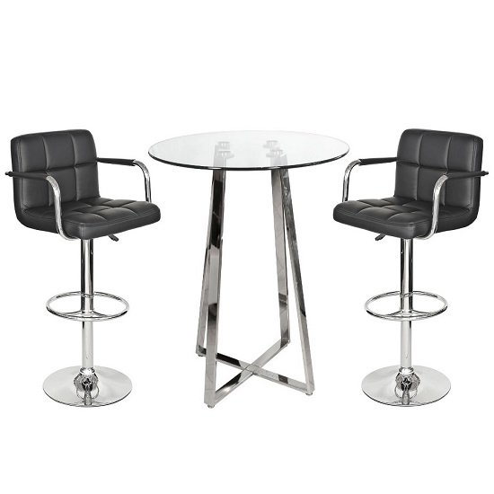 Read more about Poseur bar table in clear glass with 2 black glenn bar stools