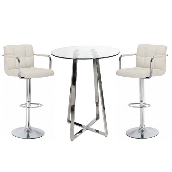 Read more about Poseur bar table in clear glass with 2 cream glenn bar stools