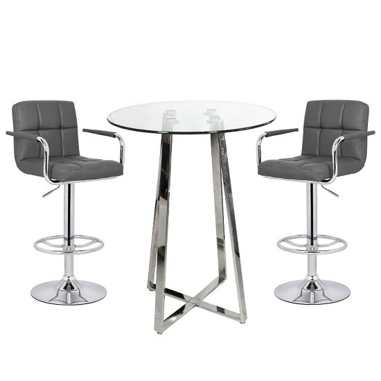 Read more about Poseur bar table in clear glass with 2 grey glenn bar stools