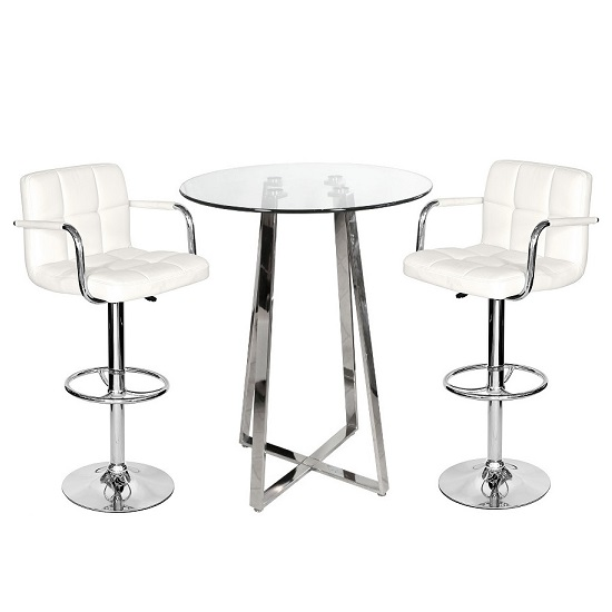 Read more about Poseur bar table in clear glass with 2 white glenn bar stools