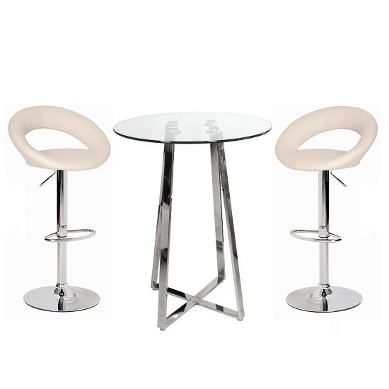 Poseur Bar Table In Clear Glass With 2 Leoni Cream Bar