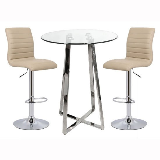 Poseur Bar Table In Clear Glass With 2 Ripple Stone Bar Stools_1