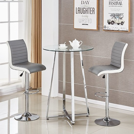 White Bar Table And Stools: Poseur Glass Bar Table With 2 Ritz Grey And White Stools