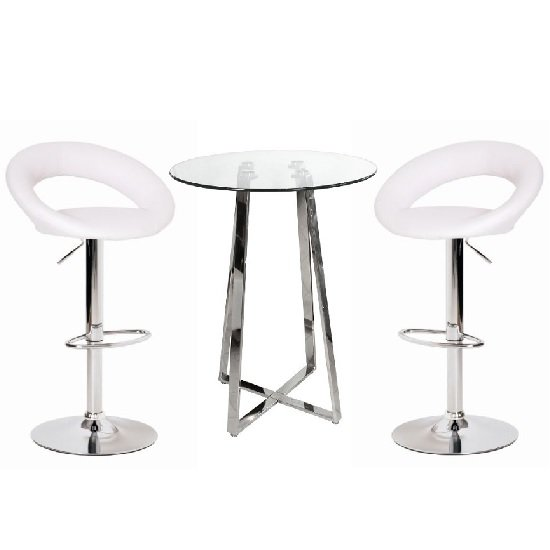 Glass Bar Stools: Poseur Glass Top Bar Table With 4 Leoni White Bar Stools