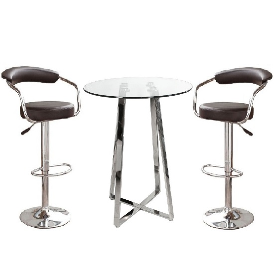 Poseur Glass Top Bar Table With 4 Zenith Black Bar Stools