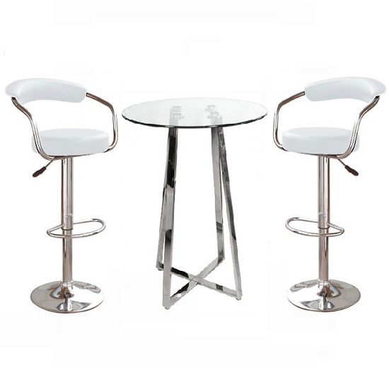 Poseur Glass Top Bar Table With 2 Zenith White Bar Stools