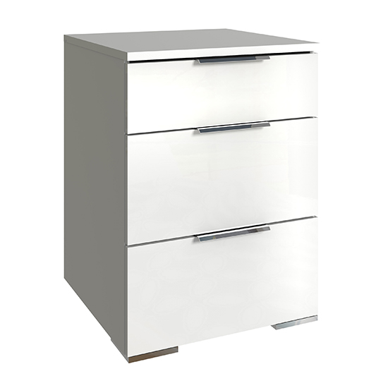 Posterior Chest Of Drawers In White High Gloss With 3 Drawers