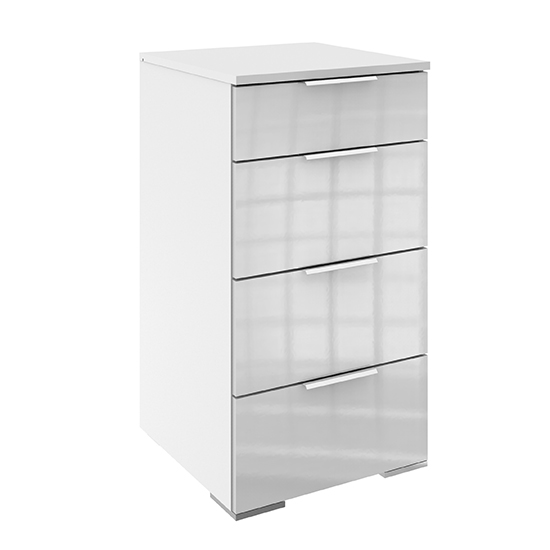 Posterior Chest Of Drawers In White High Gloss With 4 Drawers