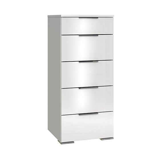 Posterior Chest Of Drawers In White High Gloss With 5 Drawers_1