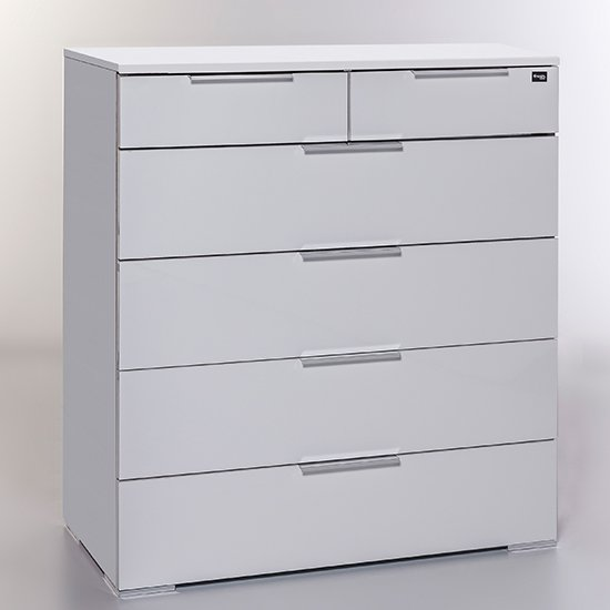 Posterior Chest Of Drawers In White High Gloss With 6 Drawers
