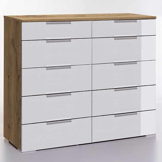 Posterior Chest Of Drawers In White Planked Oak With 10 Drawers