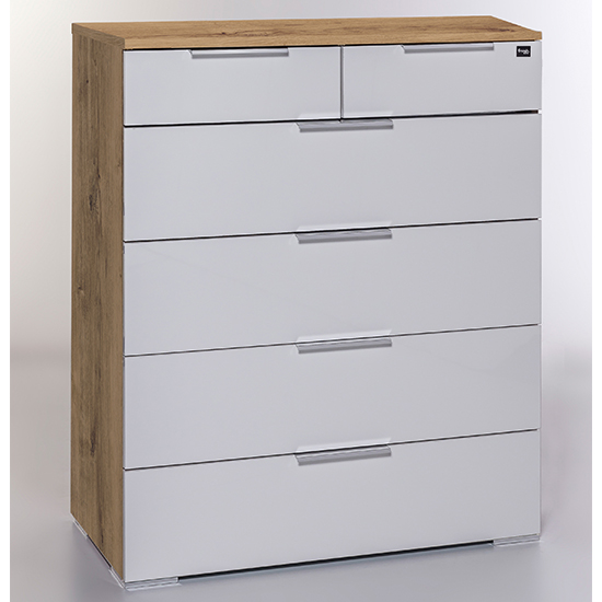 Posterior Chest Of Drawers In White Planked Oak With 6 Drawers