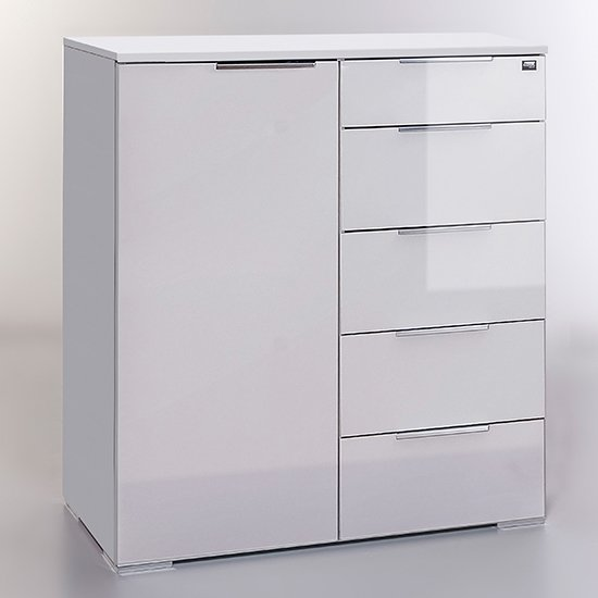 Posterior Sideboard In White High Gloss With 1 Door 5 Drawers