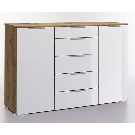 Posterior Sideboard In White Planked Oak With 2 Doors 5 Drawers