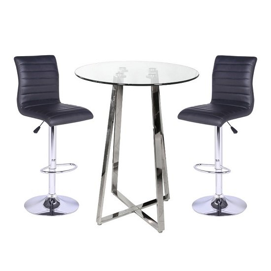 Poseur Bar Table In Clear Glass With 2 Ripple Black Bar Stools