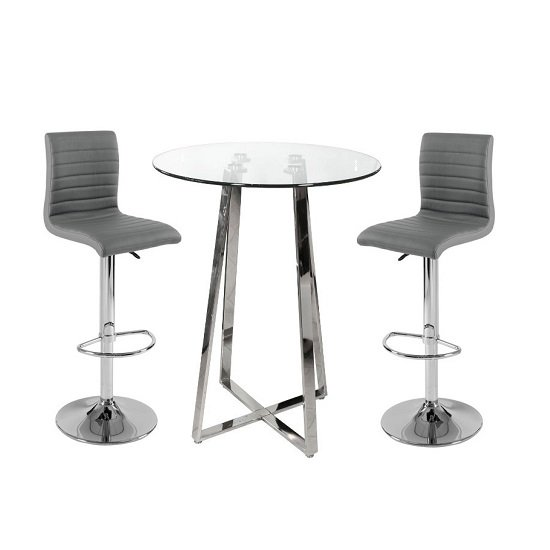 Read more about Poseur bar table in clear glass with 2 ripple grey bar stools