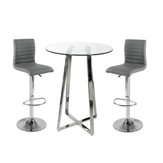 Poseur Bar Table In Clear Glass With 2 Ripple Grey Bar Stools