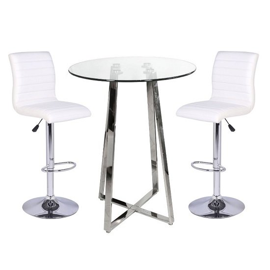 Poseur Bar Table In Clear Glass With 2 Ripple White Bar Stools